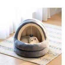 Fechado quente gato cama para casa de estimação portátil doce gatinhos cesta almofada gato travesseiro esteira tenda filhote cachorro ninho caverna gatos camas bens