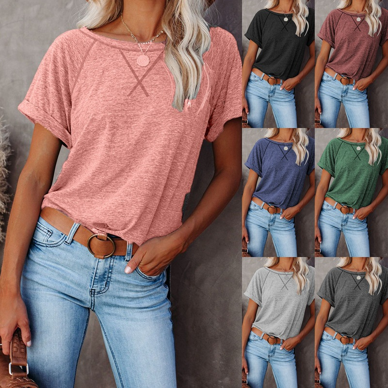 Summer New Women's Solid Short Sleeve T-shirt Office Lady Tops Retro Simple Round Neck Pullover Camiseta De Mujer