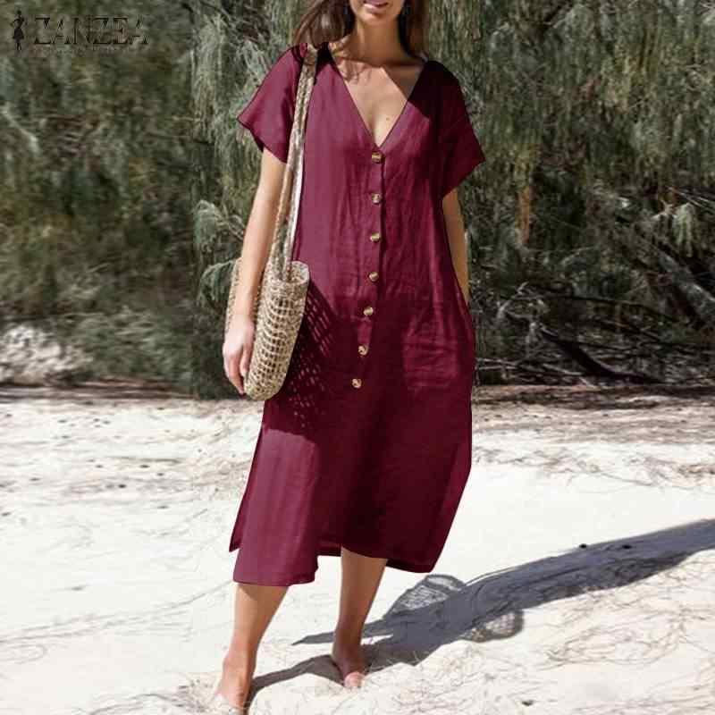 Casual Solide Sommerkleid ZANZEA Sommer Midi Kleider 2021 Frauen V Neck Taste Kleid Sommer Kurzarm Baumwolle Vestidos Übergroßen