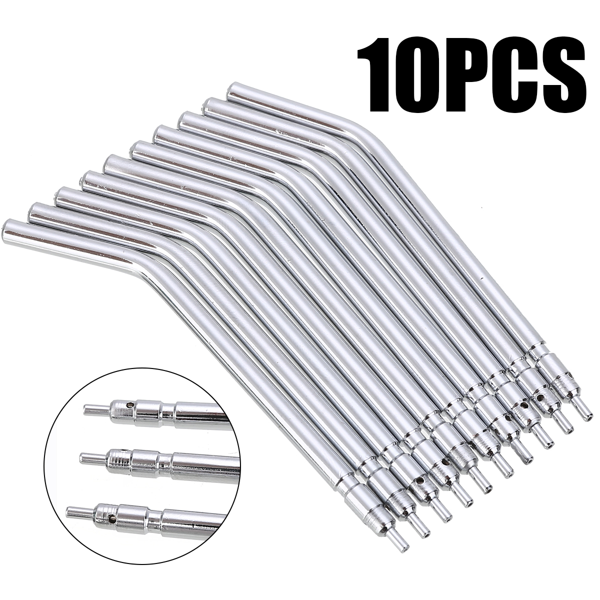 10pcs 3 Way Dental Air Water Syringe Spray Nozzles Tips Tube Stainless Steel  Syringe Spray Nozzles Tips For Teeth Whitening
