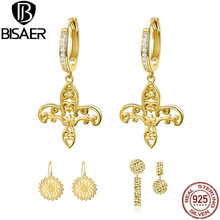 BISARE Classic 100% Real 925 Sterling Silver Noble Golden Iris&flower Drop Earrings  Plated Gold For Women Jewelry Making HSE535 double r brand new jewelry earrings for women hot sale yellow gold plated 925 sterling silver drop earrings case04266sc 2