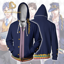 JOJOS BIZARRE ADVENTURE Kujo Jotaro Costumes JOJO Hoodies Jackets Coat Cosplay 3D Printed Zip up Hoodies Sport Sweatshirts