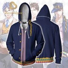 JOJOS BIZARRE ADVENTURE Kujo Jotaro kostiumy JOJO bluzy kurtki płaszcz Cosplay 3D drukowane bluzy z kapturem bluzy sportowe