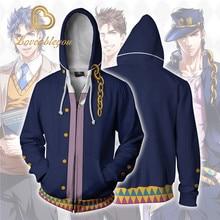 JOJOs BIZARRE ADVENTURE Kujo Jotaro Costumes 조조 후드 재킷 코트 코스프레 3D 프린트 지퍼 업 후드 스포츠 스웨터