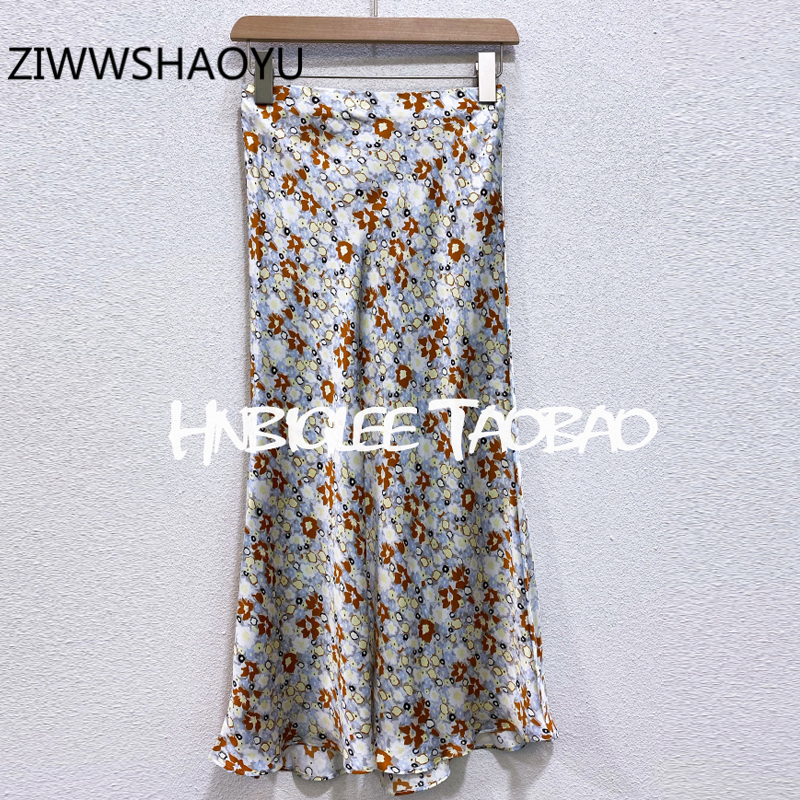 ZIWWSHAOYU Women Summer Vintage A-Line Midi Skirt Elastic Waist Floral Print Ladies Fashion Holiday Silk Skirts