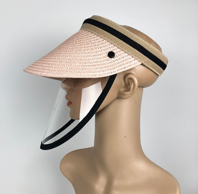 Anti Virus Sun Straw Hat Transparent Splash-proof Full Face Shield Mask Safe Protective Virus Protect anti Saliva Mask Shield