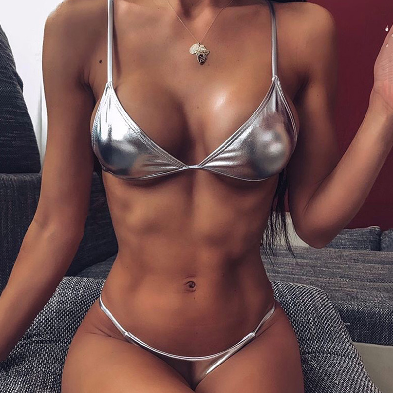 Shiny Silver Micro Thong Bikini 2020 Women Swimsuit Female Swimwear Two-pieces Bikini set Ribbed Bather Mini Bathing Suit Swim