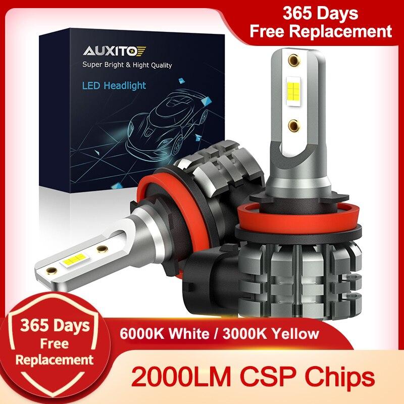 AUXITO 2X H11 светодиодный туман светильник лампы H8 H9 H16 JP светодиодный CSP 6000k белый/3000 К золотой желтый 12V LED DRL Автомобильные фары дневного света дл...