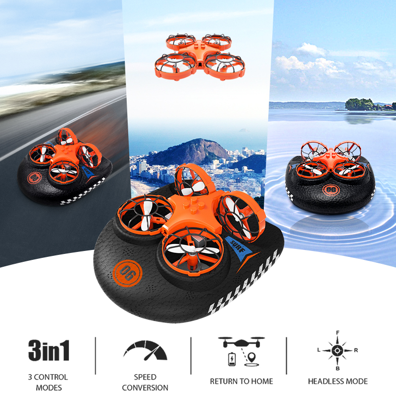 3-em-1 EPP Voador Air Barco Terra Modo de Condução Destacável Um Retorno Chave RC Drone Quadcopter RTF