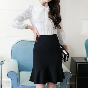 Image 4 - S 5XL 2020 Women Pencil Skirt Fashion OL Slim Bodycon Business Wear Ruffles Hem Mermaid Style Plus Size Ladies Office Skirt