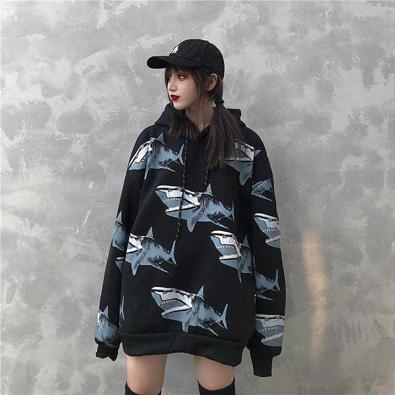 NiceMix נשי חורף 2019 חדש אופנה תוספות כריש הדפסת Harajuku רופף מזדמן בתוספת קטיפה רטרו היפ הופ מעיל מעיל הסווטשרט swea