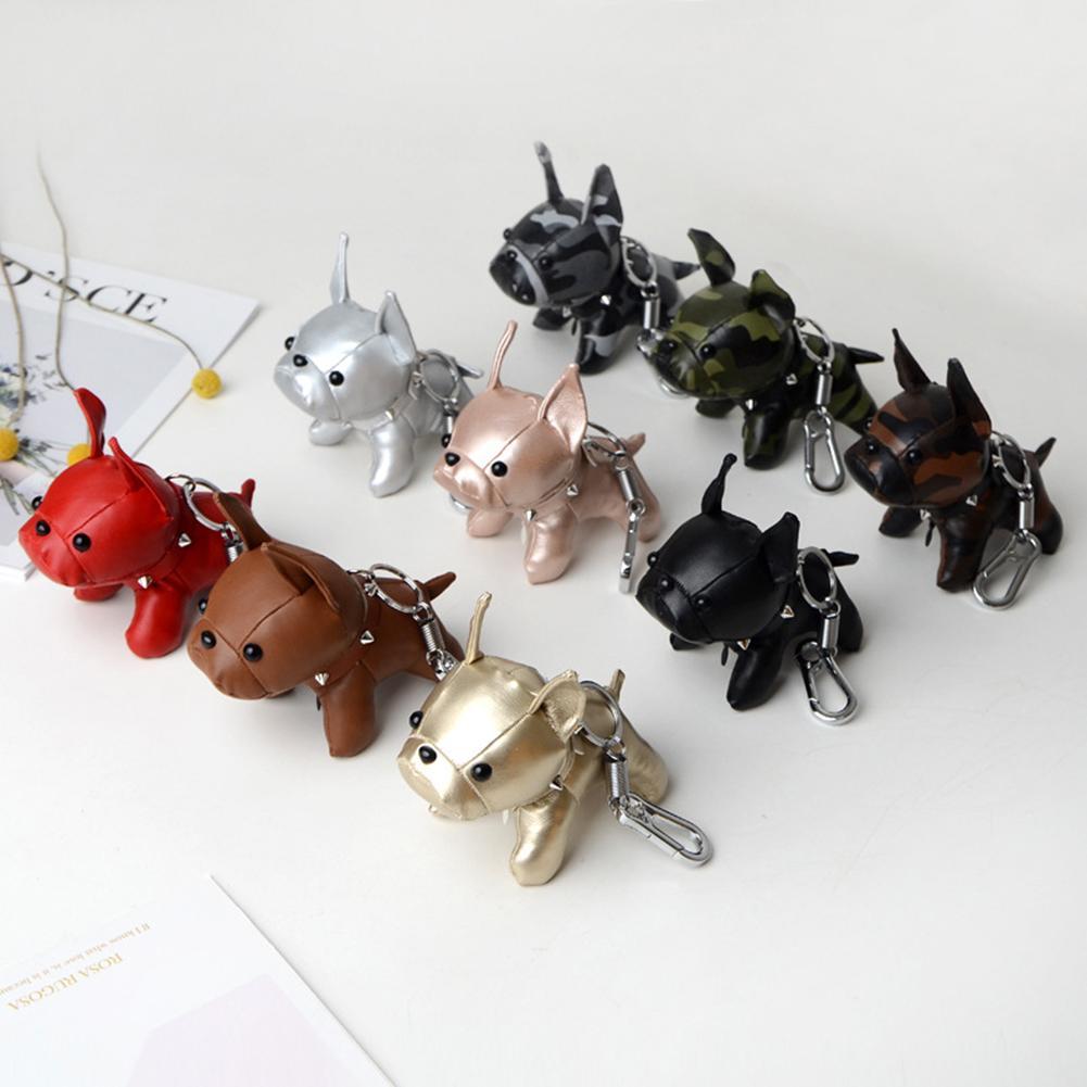 Mini Bulldog Puppy Faux Leather Doll Hanging Pendant Key Ring Keychain Decor Plush Keychain Bag Decor Hanging Pendant Dog Design