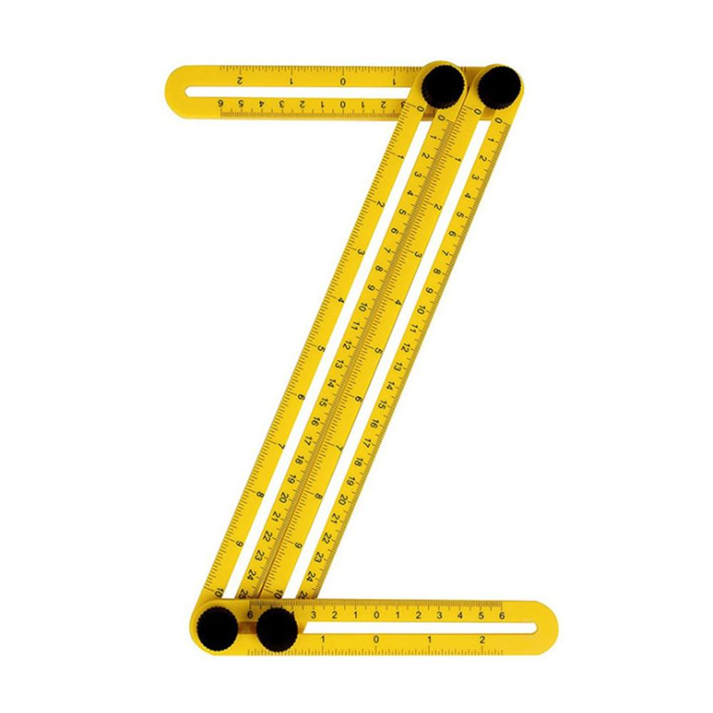 Multifunctional Abs Live Four-Square Ruled Plastic Activity Four-Fold Ruler Measuring Tool Folding Ruler Multi-Angle Ruler