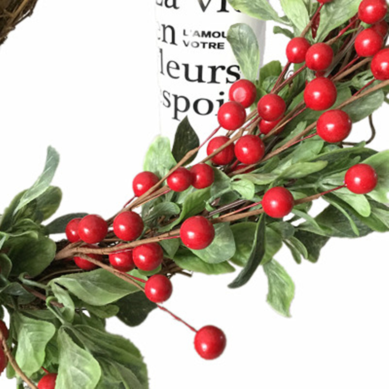 Simulation Berries Christmas Round Wreath Berry Wreath Lintel Leaves Flower Festival Xmas Decoration Shooting Props
