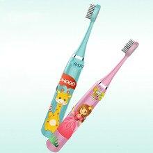 Детская электрическая зубная щетка с мультипликационным рисунком двухсторонняя зубная щетка электрическая зубная щетка для детей с 3 сменными головками