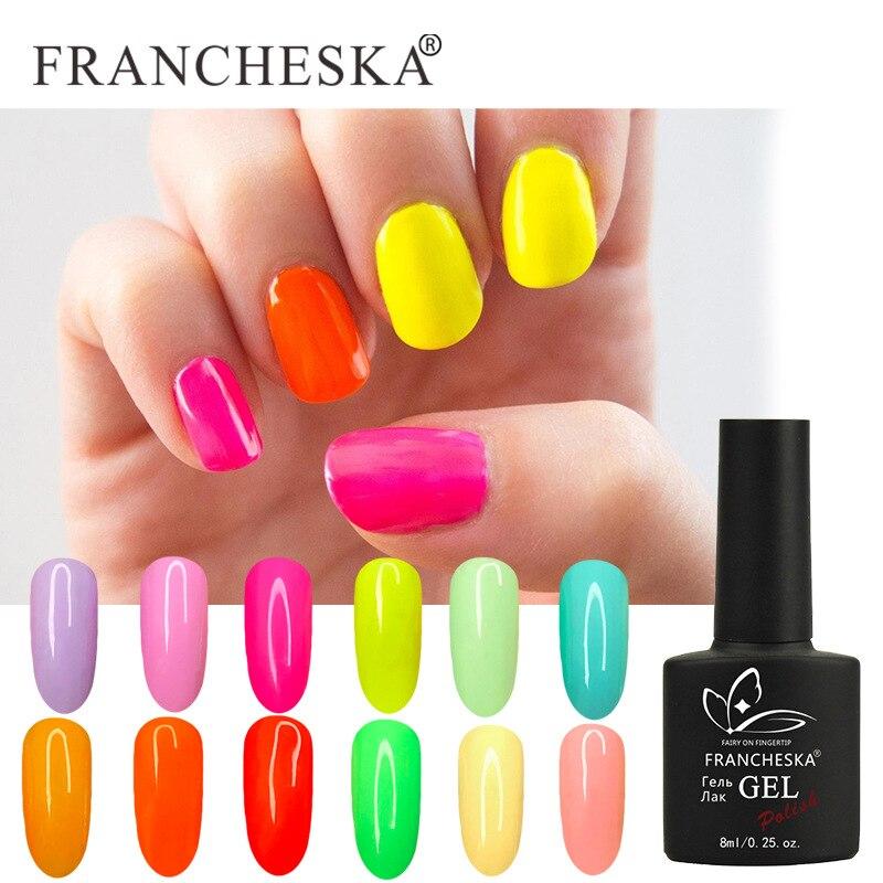 Francheska unha polonês neon cor gel serise arte do prego tudo para manicure uv led base superior casaco primer unhas gel polonês arte do prego diy