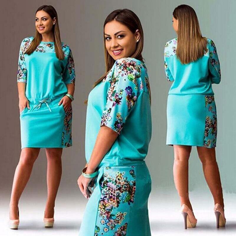 Винтажная одежда размера плюс с цветочным принтом, женское Элегантное повседневное свободное короткое летнее платье средней длины, Vestidos 2019...