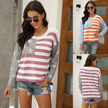 Christmas Loose Winter Striped Sweater Women Pullover Plus Size Womens Sweaters High Quality Oversized Color Block 2020