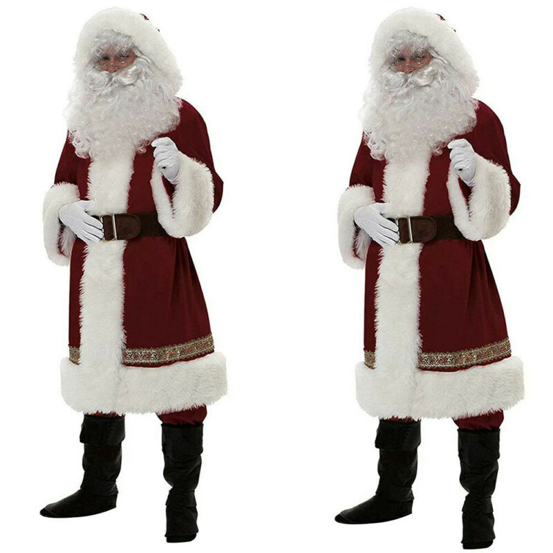Mens Deluxe Santa Claus COSTUME BEARD GLOVES HAT Christmas Xmas Fancy Dress
