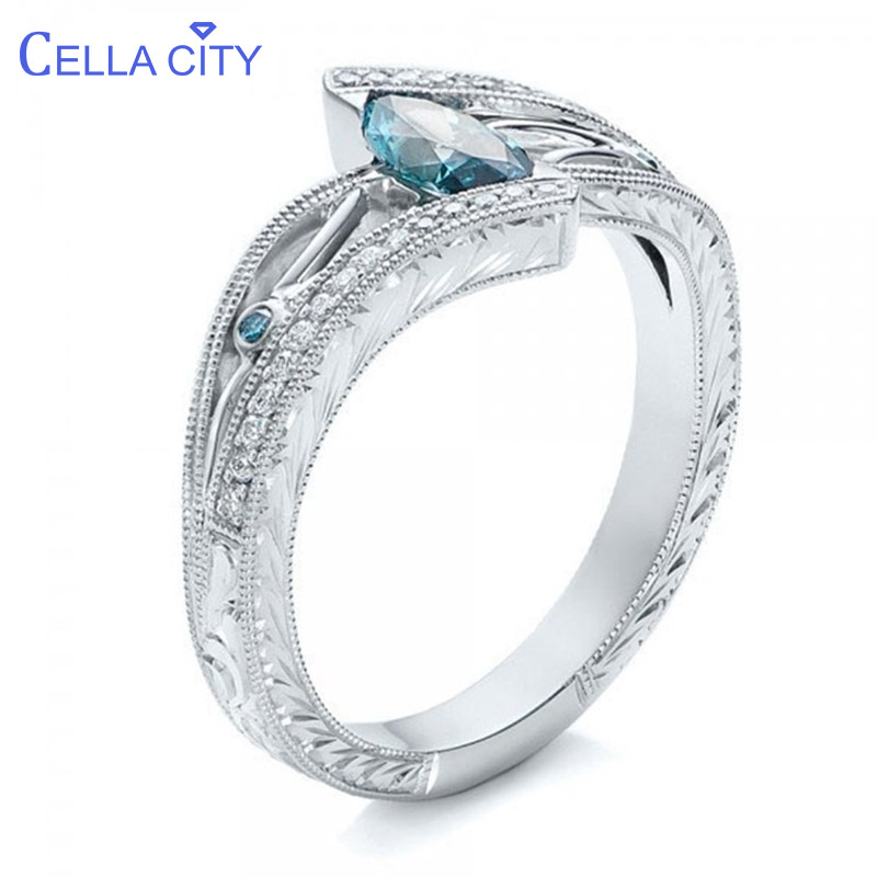 Cellacity Fashion Luxury Designer Accessories Aquamarine Ring For Women Silver 925 Jewelry 3 Colors Hollowing Out Style Banquet