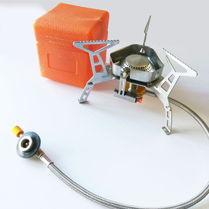 Wind proof outdoor gas burner camping stove lighter tourist equipment kitchen cylinder propane grill