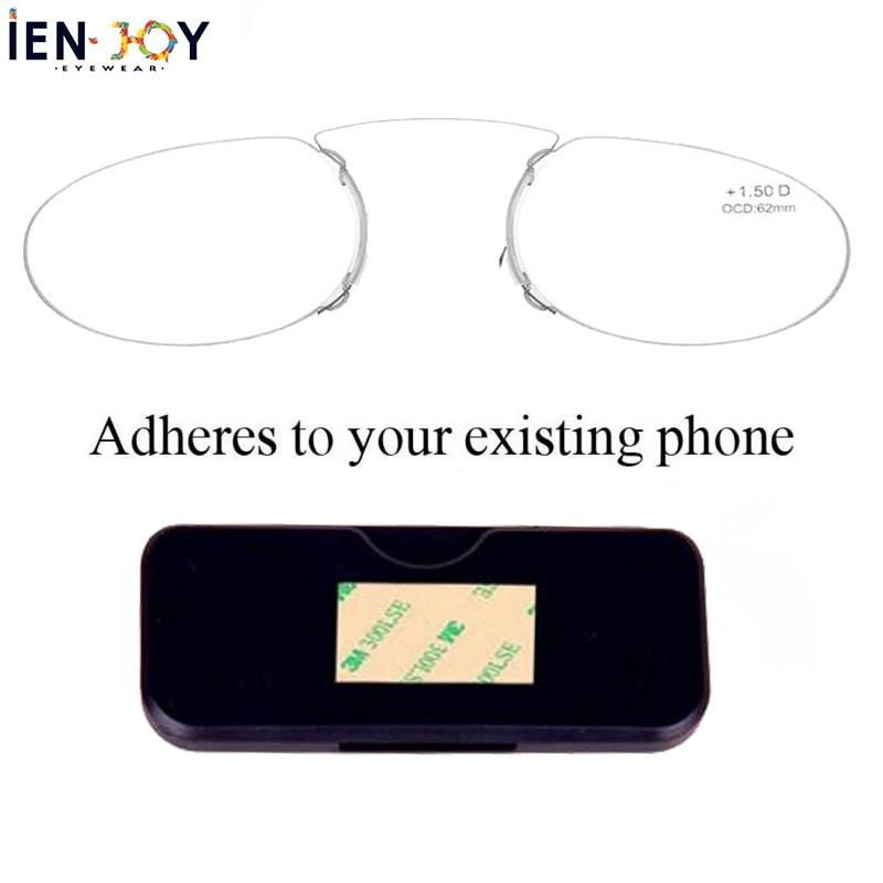 IENJOY Pince Nez Style Reading Glasses Thin Pince-Nez Nose Clip Reading Glasses No Arm TR Glasses For Men Women Reading Glasses