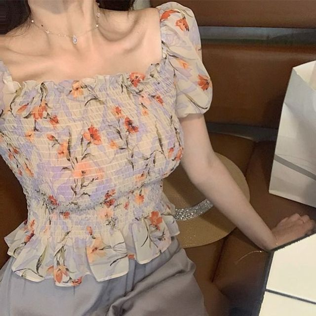 Sexy Cute Off Shoulder Slim Fashion Folds Shirts Short Sleeve Blouse 2020 Summer Women Short Crop Tops Blouses Korean Clothes 4