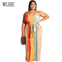 WUHE Large Size 4XL 5XL Rainbow Tie Dye Loose Maxi Dress Women Spaghetti Strap Backless Sleeveless Casual with Waist Belt