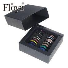 Floya, anillo de titanio de acero inoxidable, conjunto de anillos Vintage apilable para mujer, anillo de banda para mujer, regalo para chica amiga, caja negra