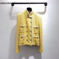 SPENNEOOY Designer High End Women's Early Spring Plaid Rough Weave Crystal Double Breasted Silk Lined Yellow Jackets Coat