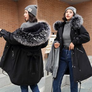 Image 4 - 2019 Women Winter Jacket With Large Fur Hooded New Arrival Female Long Winter Coat Parkas With Fur Lining