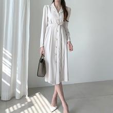 vestidos 秋の包帯シャツ女性スリムファッションオフィス女性潮デザイナー滑走路シックなボタン コットンドレス