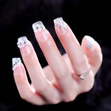 Искусственные ногти носить Маникюр невесты свадебное платье маникюр патч белый цветок жемчуг поддельные ногти AL193