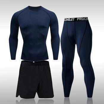 Męska 3-odzież sportowa strój sportowy do biegania siłownia trening jogi męskie szybkoschnący odzież kompresyjna dres mężczyźni tanie i dobre opinie DaFeiBang CN (pochodzenie) Z okrągłym kołnierzykiem Pulower Dobrze pasuje do rozmiaru wybierz swój normalny rozmiar