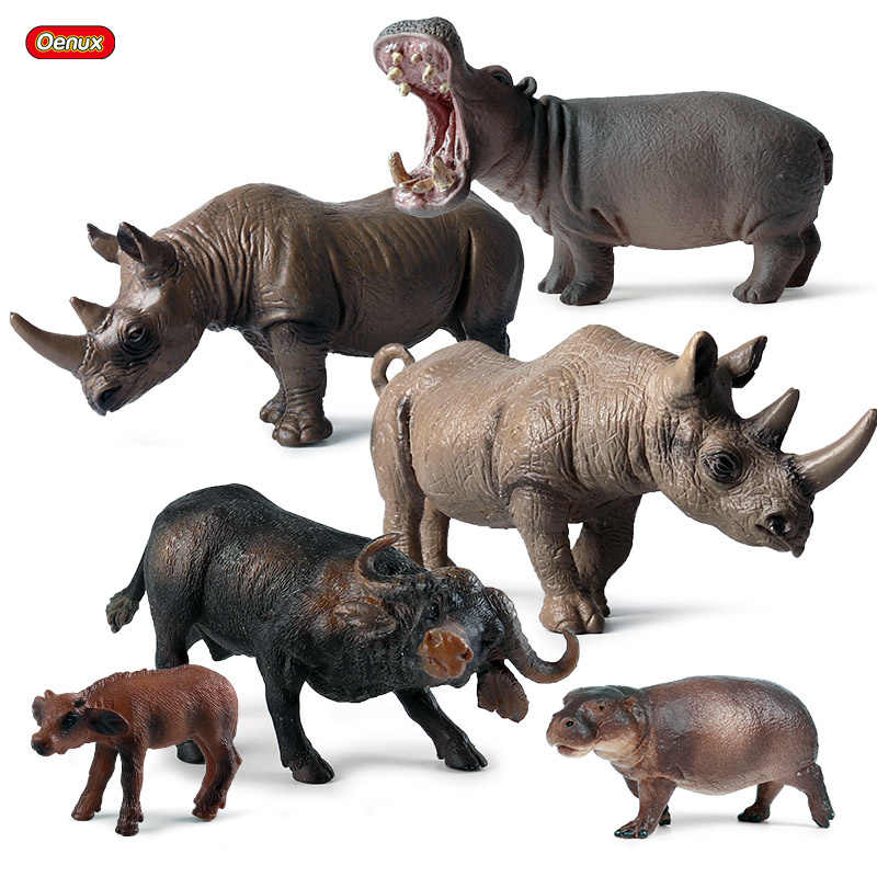 Lifelike Plastic Wild Animals Toys Model Wildlife Indian Rhinoceros Hippo