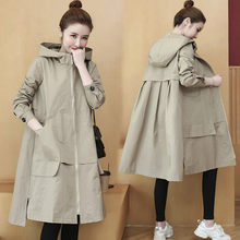 Spring Autumn Hooded Trench Coat For Women 2020 Fashion Pockets Long Windbreaker