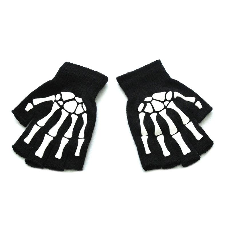 Unisex Adult Halloween Skeleton Skull Half Finger Gloves Luminous Winter Mittens C6UD