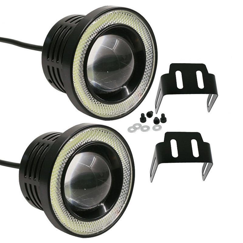 """2pcs 12V 유니버설 자동차 COB LED DRL 운전 조명 30W 자동 화이트 블루 핑크 옐로우 그린 레드 엔젤 눈 안개 램프 2.5 """"3.0"""" 3.5"""""""