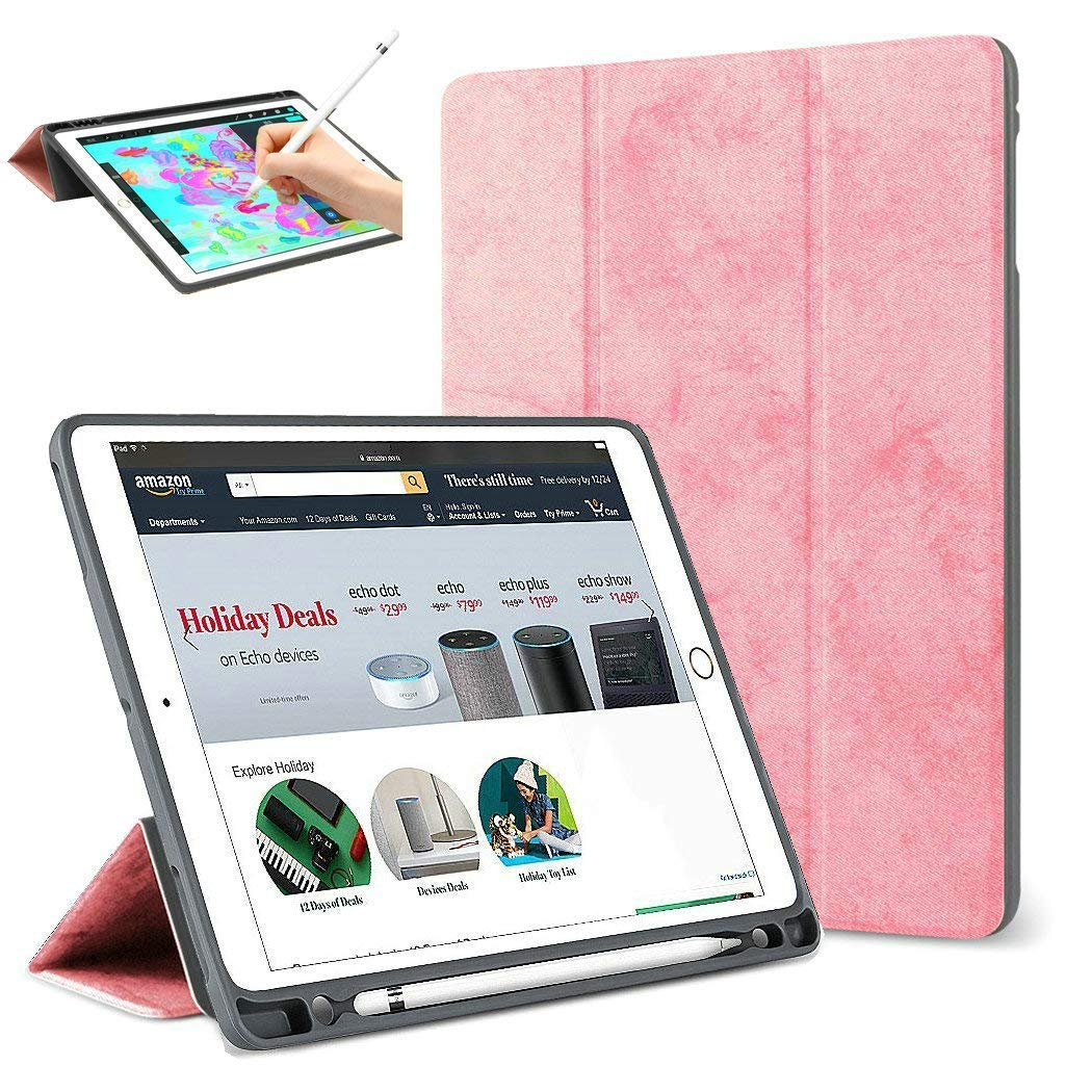 For IPad Pro 12.9 2017/2015 Case Pencil Holder,Smart Cover Trifold Stand Auto Sleep/Wake Protective Case For IPad Pro 12.9 2020