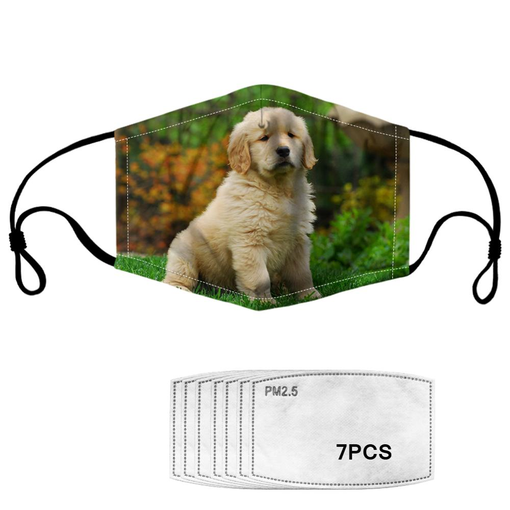 Dust-proof Mask Golden Retriever 7PCS Filters Mask Kids Girl Women Customized Dog Winter Health Prevent Infection Dropshipping
