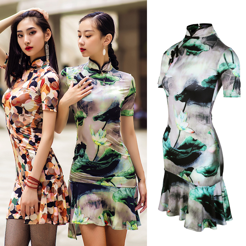 New Latin Dance Dress Cheongsam Dress Dance 2019 Chacha Dress Chinese Painting Tango Dress Stage Performance Latin Dress BL2470
