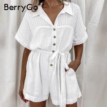 Short Jumpsuit Berrygo Bat-Sleeve Female Romper V-Neck Lace-Up White High-Waist Casual