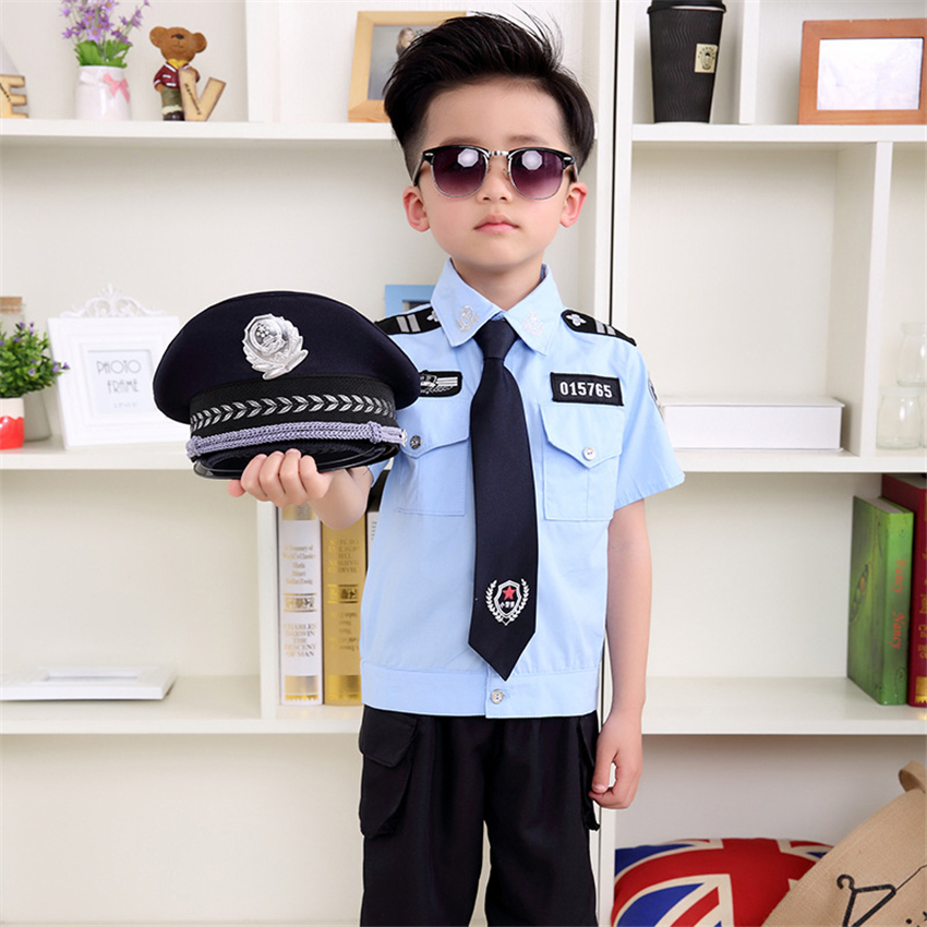 Children Cosplay Tiny Cop Halloween Costume For Kids Policeman Uniform Traffic Boy Role Play Officer Disguise Fancy Clothing