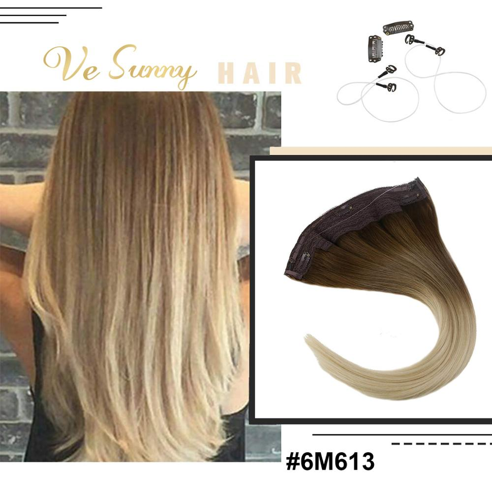VeSunny Invisible Halo Hair Extensions 100% Real Human Hair Flip In Wire With Clips On Balayage Medium Brown Ombre Blonde #6/613