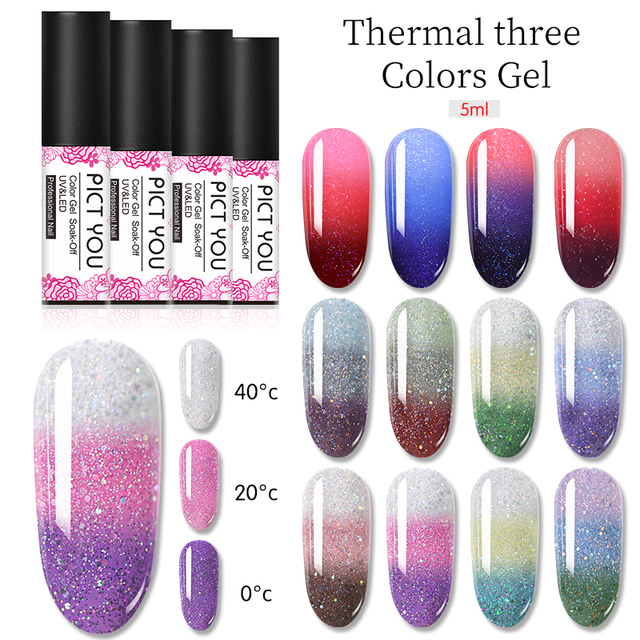 1 Bottle PICT YOU Color Changing Nail Gel Three Colors Soak Off Gel Polish Thermal Gel Temperature Change Nail Gel 3