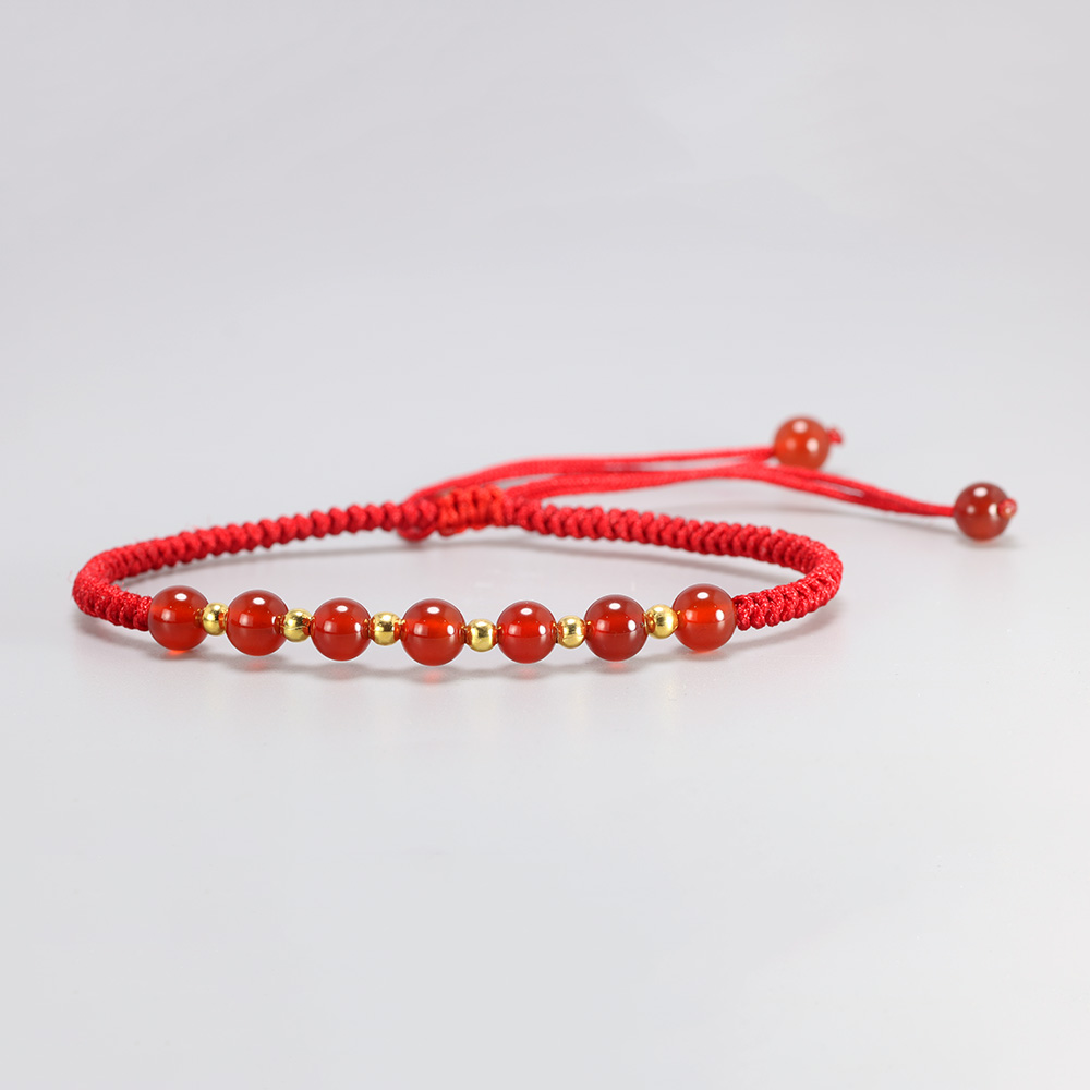 Lucky 6 Beads Natural Stone Charms Bracelet Red String Thread Rope Couple Bracelet Wish Card Jewelry For Women Men Adjustable