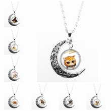 2019 New Hot Sale All Kinds of Cute Animal Pattern Series Glass Cabochon Pendant Moon Necklace Girl Jewelry Gift