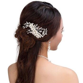 Acessórios Grampos de Cabelo Romântico do casamento de Cristal Pérola Flor HairPin Strass Tiara Coroa De Noiva Alfinetes de Cabelo Noiva Cabelo Jóias