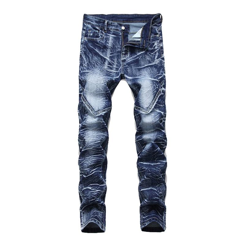 Denim Designer MOTO BIKE Straight Jeans For Men'S Size 28-38 40 42 2020 Autumn Spring HIP HOP Punk Rock Streetwear Trouers