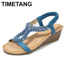 TIMETANGSummer Sandals For Women Bohemian Couture Crystal Wedge Sandals